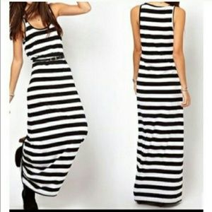 CLOSING  dayBLACK & WHITE STRIPED MAXI DRESS
